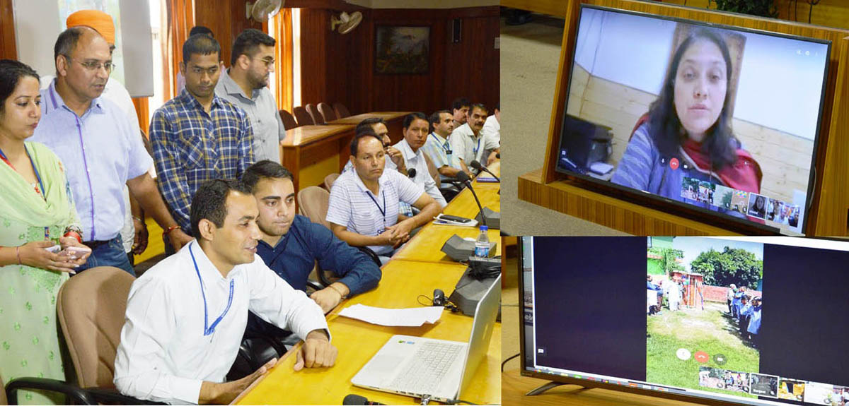 Secretary, RDD, Sheetal Nanda, interacting with DDC Udhampur and his team through video conferencing on the completion of mission ODF.