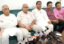 J&K BJP Incharge Avinash Rai Khanna interacting with media persons at Kathua on Friday. -Excelsior/Pardeep Sharma