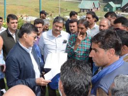 Advisor K Vijay Kumar interacting with officers of Forest & Wildlife Department in Gulmarg on Saturday.