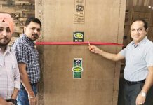 Senior Executives of Amul Boards Pvt Ltd launching Amul Plus Boiling Waterproof Plywood at Jammu on Wednesday.