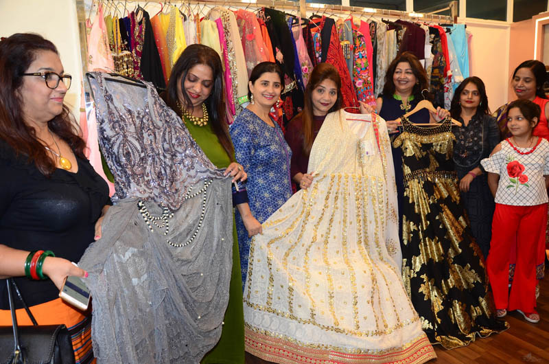Dignitaries during launch of designer festive collection exhibition at Cat's Fashion Studio in Channi.
