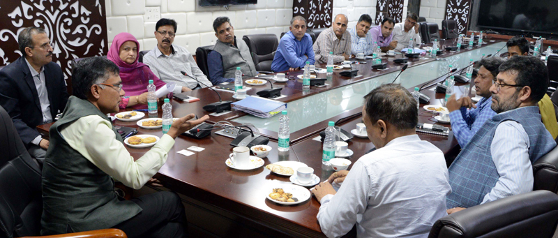 Principal Secretary Industries chairing a meeting in Srinagar on Thursday.