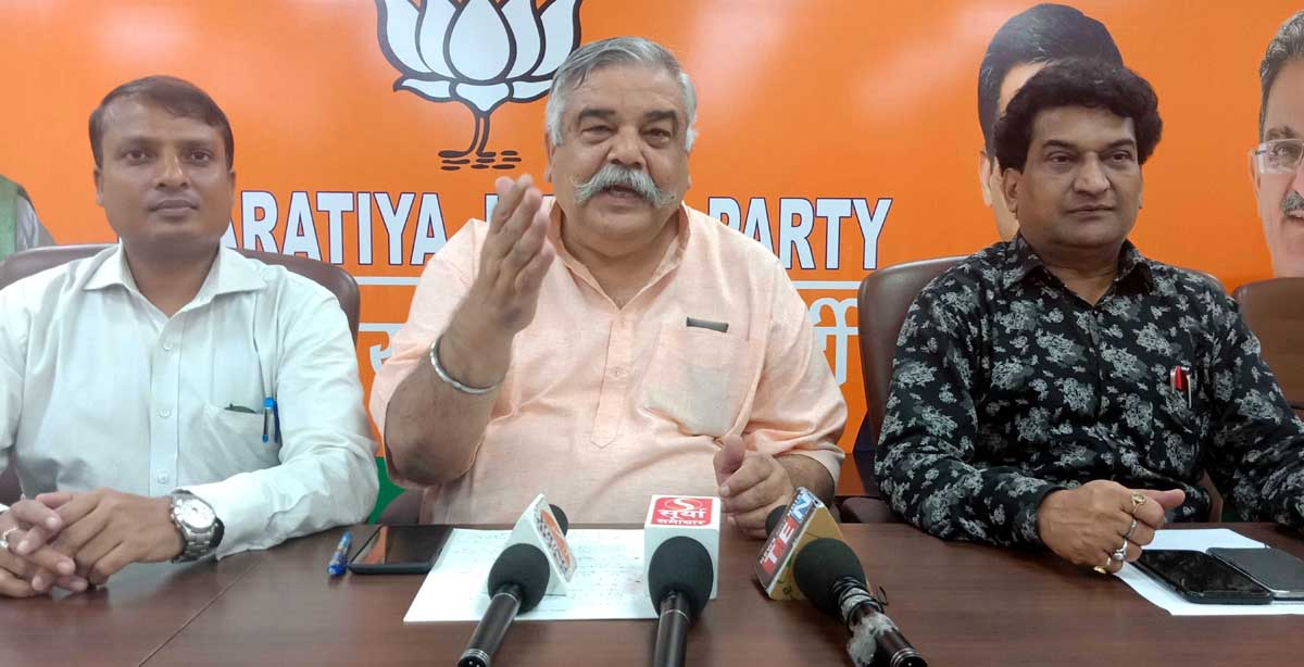 BJP leaders at a press conference at Jammu on Saturday.