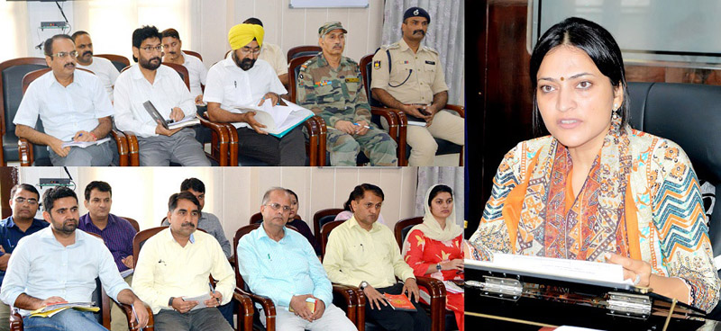 DDC Samba, Sushma Chauhan chairing a meeting on Thursday.