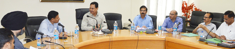 Commissioner Secretary Power Development Department, Hirdesh Kumar chairing a meeting at Kathua on Saturday.