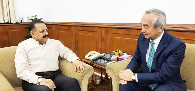 Union DoNER Minister Dr Jitendra Singh being briefed by the Ambassador of Japan, Kenji Hiramatsu about Japanese collaboration in various development projects in Northeast, at New Delhi on Wednesday.