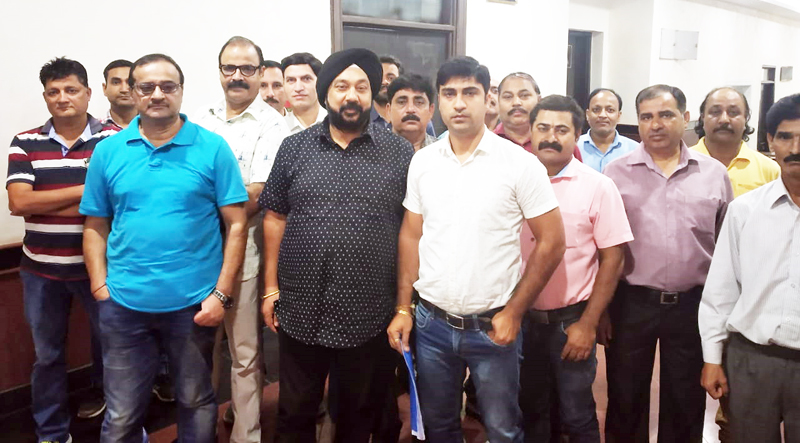 PDD employees after meeting with Advisor BB Vyas at Jammu on Tuesday.
