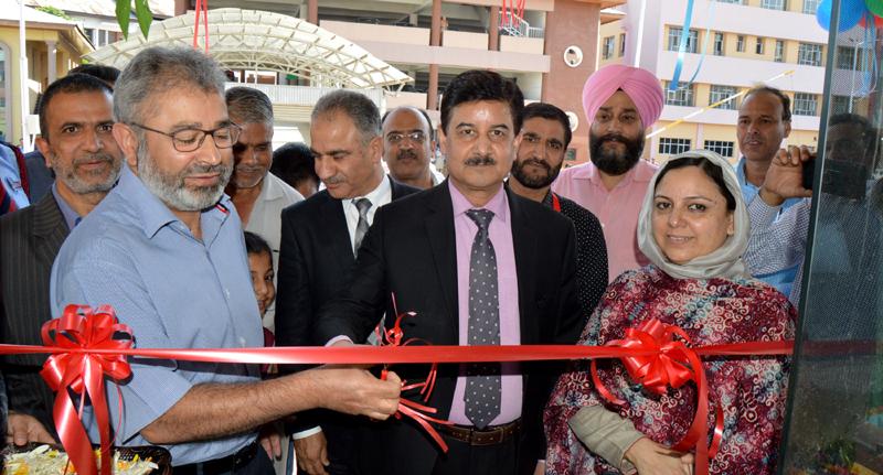 Executive President J&K Bank P K Tickoo inaugurating ATM at Dental College and Hospital at Srinagar.