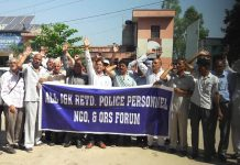 J&K police pensioners raising slogans during protest at Vijaypur on Thursday. -Excelsior/Gautam