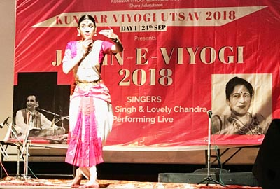 Artist performing Bharat Natyam on a Dogri poem during a programme at Jammu on Monday.