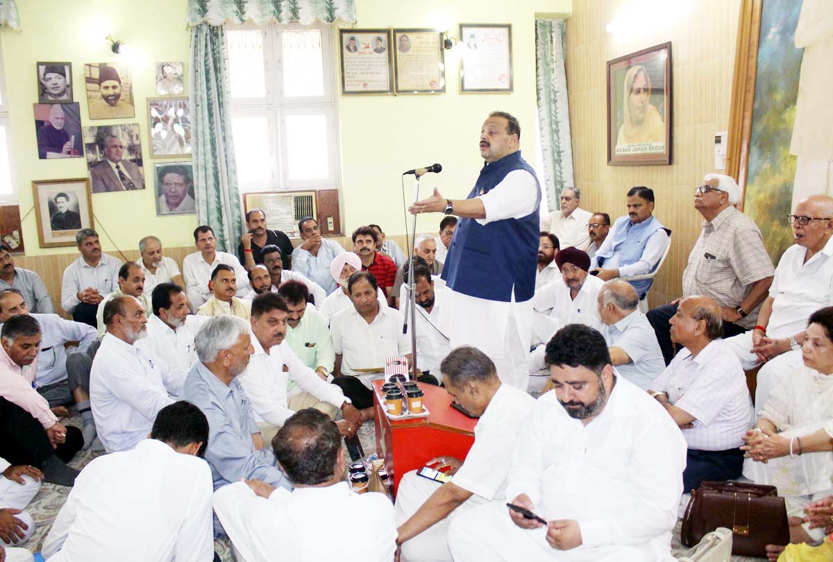 NC Provincial President Devender Singh Rana addressing office bearers of the party on Tuesday.