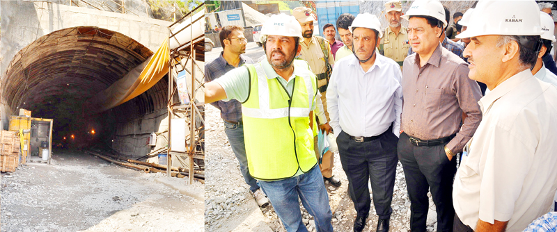 Commissioner Secretary Power Development Department Hirdesh Kumar inspecting Sawalakot project work on Friday.