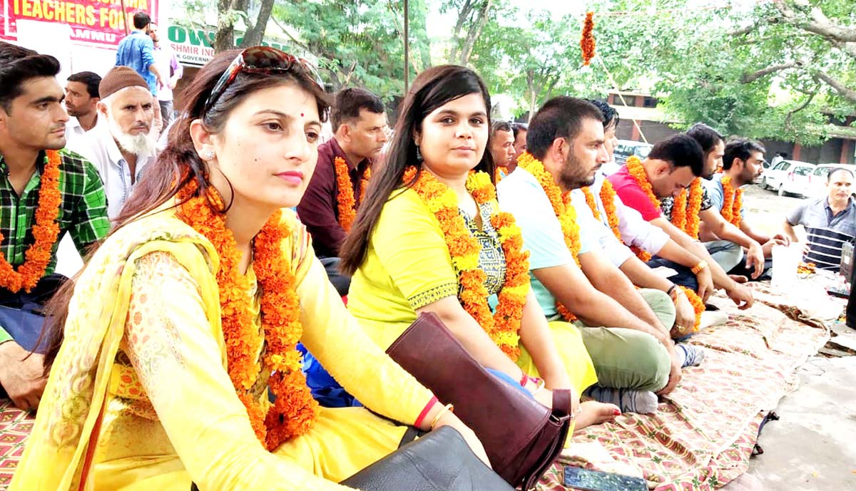 Female teachers during chain hunger strike by TJAC on Thursday.
