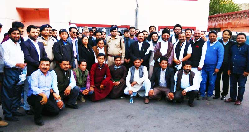 Newly elected Councilors of LAHDC Kargil and others at oath taking ceremony on Saturday.
