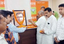 BJP leaders paying tributes to Pt Deen Dayal Upadhayay on his birth anniversary of Jammu on Tuesday.