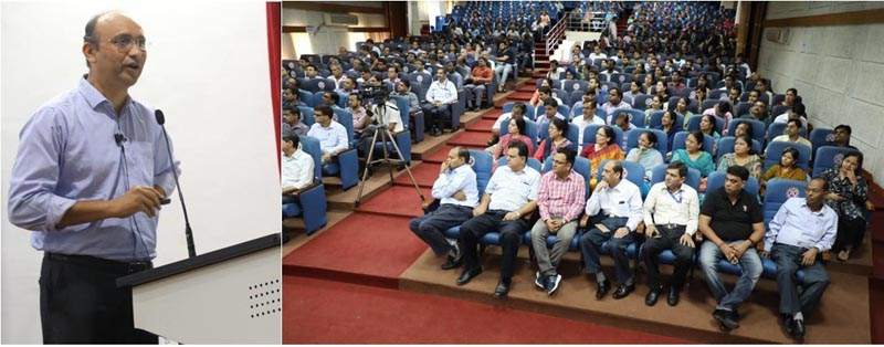 Dr Rajesh Gokhale addressing a gathering during celebrations of 76th Foundation Day of Council of Scientific and Industrial Research at Jammu on Wednesday.