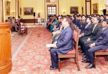President Ram Nath Kovind addressing 79 General Duty Medical Officers (GDMOs) of the Central Health Service (CHS) attending the 3rd Foundation Training Programme at National Institute of Health and Family Welfare (NIHFW) at Rashtrapati Bhavan,in New Delhi on Wednesday. (UNI)