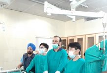 Two Cardiologists from Japan and HoD Cardiology Dr Sushil Sharma conducting a procedure in GMC Jammu on Tuesday.