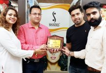 Executives of 'Shades The Beauty Salon' at the launch of revolutionary hair treatment called 'Me Day' in Jammu on Friday.