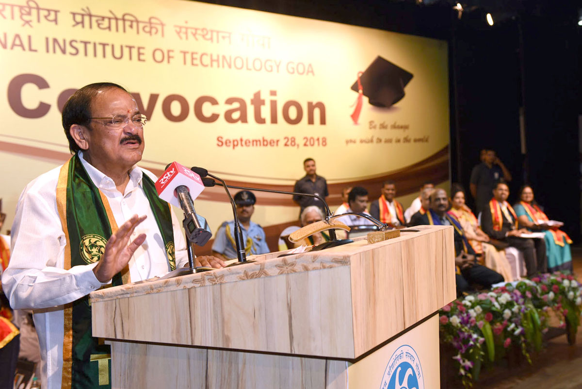 Vice President, M. Venkaiah Naidu addressing the 4th Convocation of the National Institute of Technology, Panaji, Goa on Friday.