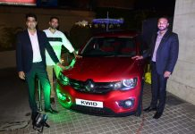 Executives of Renault India during the launch of new KWID at Jammu Autowheels Pvt Ltd, Kalu Chak on Friday.