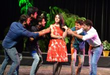 A scene of play 'Bagia Bancha Ram Ki' staged at Abhinav Theatre in Jammu.