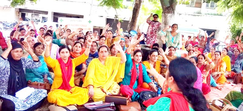 Female Multipurpose Health Workers during a protest demonstration in Jammu on Thursday.
