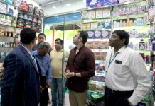 Ram Mohan Rao, Chief GM- India Operations, Apollo Pharmacy Limited along with other officials after inaugurating 2nd store of the company at Shahidi Chowk in Jammu.
