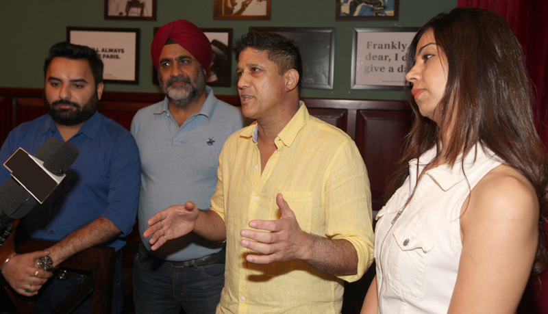 A founding member of Red Farm and Nice Legs interacting with media persons at Jammu on Thursday.