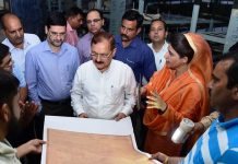 Financial Commissioner, Revenue Dr Pawan Kotwal inspecting land records in Jammu on Monday.