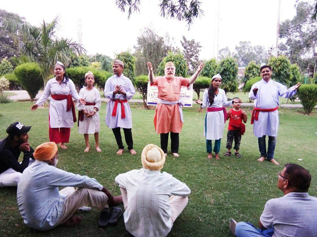 A scene of the play 'Hamari Zimeyvariya' staged at Jammu on Monday.