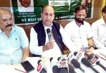 State president, JD(U), G M Shaheen, along with other party leaders, addressing a press conference at Jammu.