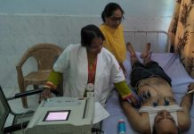 Doctors examining a patient at a multi specialty medical camp organized by Salal Power Station in Jyotipuram on Thursday.