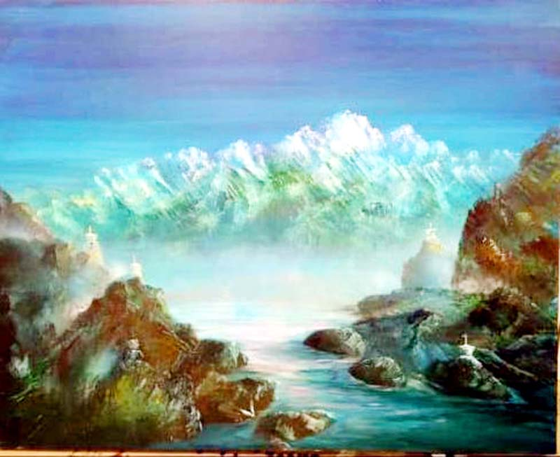A painting by renowned artist K.K Gandhi made during a workshop at Jammu on Thursday.