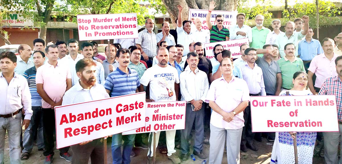 Members of the Joint Action Committee of General Category protesting against Govt stand on reservation in promotion.