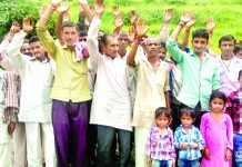 Villagers protesting in Ramnagar on Thursday.
