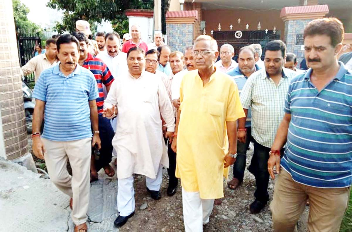 Sat Sharma, MLA, Jammu West, during his visit to Ward 35 on Tuesday.