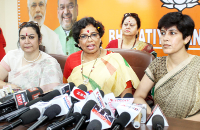 National President BJP Mahila Morcha Vijaya Rahatkar interacting with media persons at Jammu on Tuesday. -Excelsior/Rakesh
