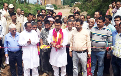 MLA Ramnagar, Ranbir Singh Pathania inaugurating road project in his constituency on Tuesday.