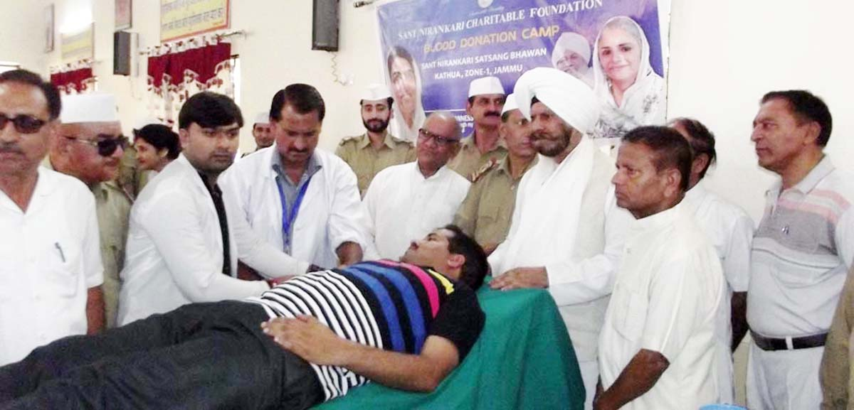 Volunteers donating blood at a camp organised by Sant Nirankari Charitable Foundation in Kathua on Sunday.