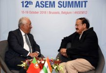 Vice President, M. Venkaiah Naidu meeting the Prime Minister of Portugal, Mr. Antonio Costa, on the sidelines of the 12th Asia-Europe Meeting, at the Europa Building, in Brussels, Belgium on Friday.