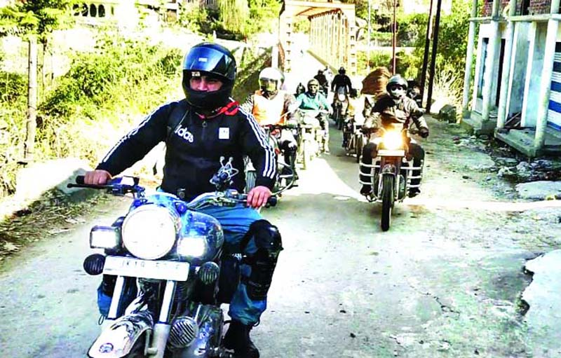 Bikers during motorcycle rally. -Excelsior/Tilak Raj