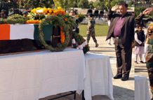 Tributes being paid to martyr Lance Naik Ranjeet Singh in district Ramban on Monday. -Excelsior/Pervaiz