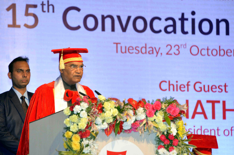President, Ram Nath Kovind addressing at the 15th Convocation of the Symbiosis International University, at Pune, in Maharashtra on Tuesday.