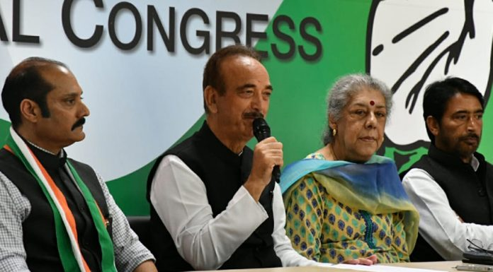 Leader of Opposition in Rajya Sabha Ghulam Nabi Azad speaking to media persons in New Delhi on Thursday.