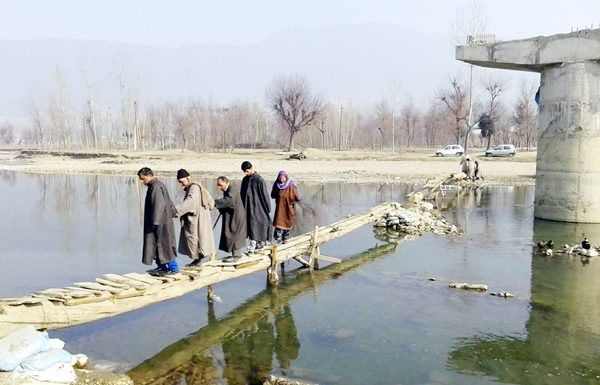 A view of incomplete bridge at Drugmulla. -Excelsior/Aabid Nabi