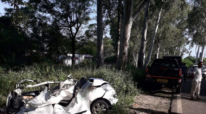 The ill fated vehicle which was completely damaged in a road accident near Batehra on Jammu-Akhnoor road.