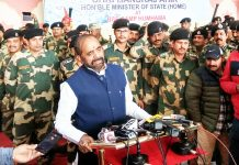 Union Minister of State for Home, Hansraj Ahir interacting with media at Humhama in Srinagar on Friday.