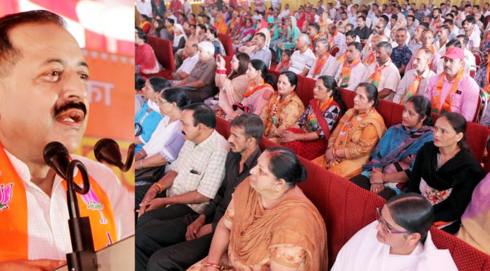 Union Minister Dr Jitendra Singh addressing a BJP public meeting at Udhampur on Saturday. —Excelsior/Rakesh