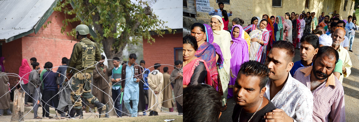 Few voters at Sumbal, Bandipora in Kashmir (left) and long queues of electorates in Udhampur in Jammu region (right) on Wednesday. —Excelsior pics by Aabid Nabi & K Kumar